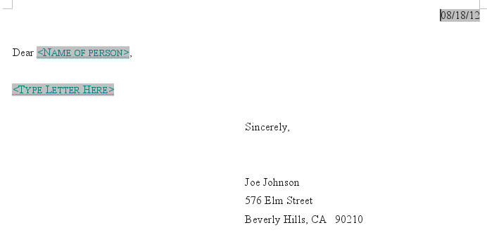 New Letter created from the sample template