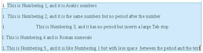 The 5 built-in Number List styles are displayed