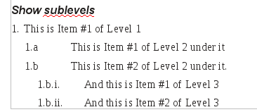 A nested list with Show sublevels selected.