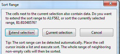 Sort window asking if you want to sort one column or the whole database.