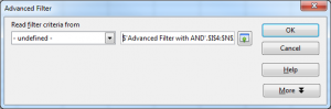 Advanced Filter window