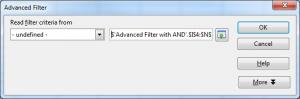 Advanced Filter window