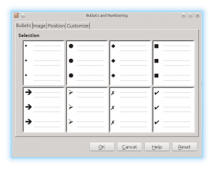 Bullets and Numbering Properties Window in LibreOffice Impress
