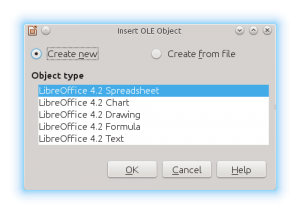 LibreOffice Impress Insert OLE Object