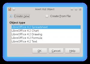 LibreOffice Impress Insert OLE Object