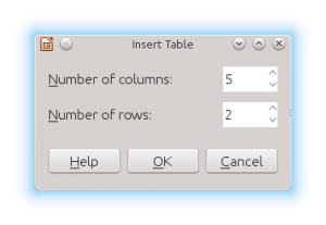 LibreOffice Impress Insert Table