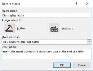 Macro dialog window