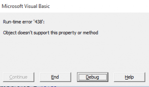 VBA run-time error 438