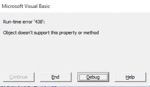 VBA run-time error 438