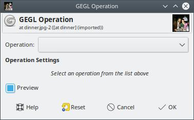 GIMP GEGL Operation Dialog Box