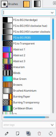 GIMP Gradients selector box