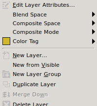 GIMP Layer Properties pop-up