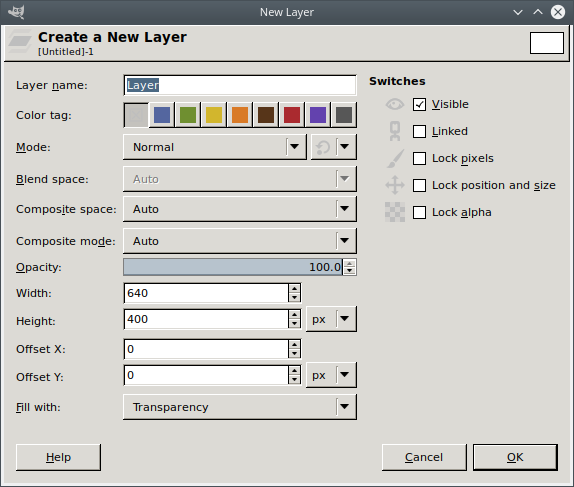 The GIMP New Layer dialog