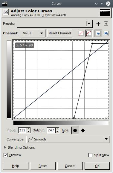 GIMP Curves Tool second time