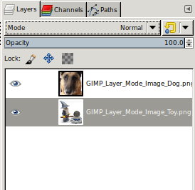 GIMP Layers in position