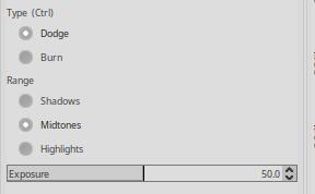 GIMP Dodge/Burn Tool settings