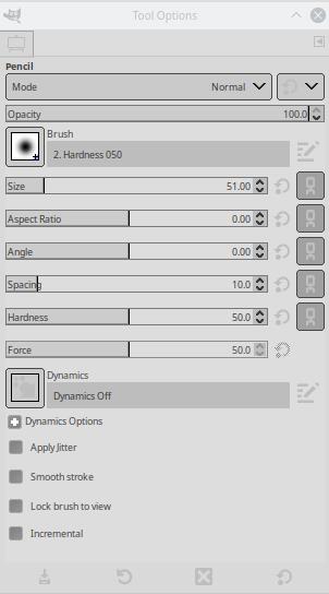 GIMP Pencil Tool Options