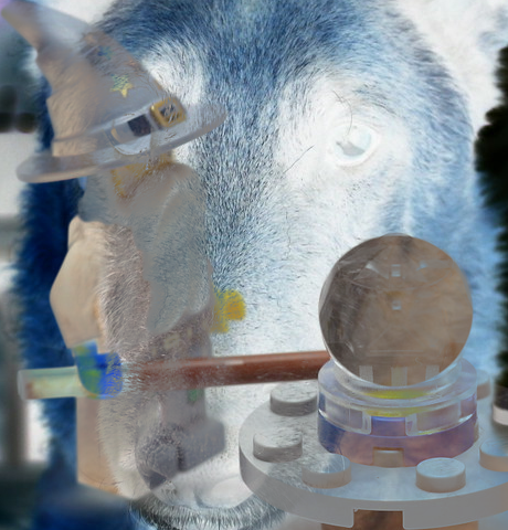 Dog and Toy images combined using Exclusion Layer Mode