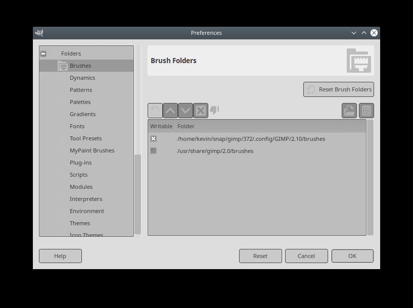 My GIMP Preferences-->Folders screen
